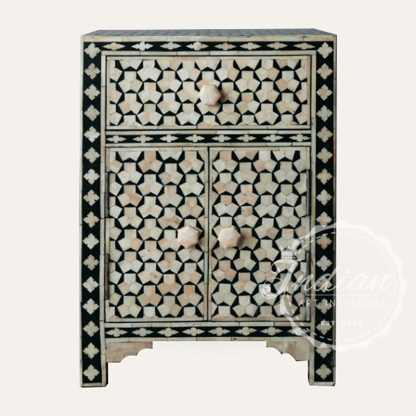 bedside table with bone inlay