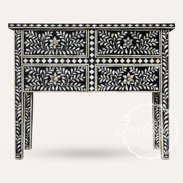 bone inlaid floral console table