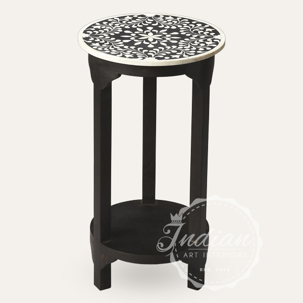 bone inlaid floral side table