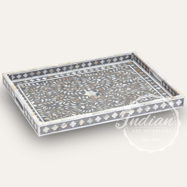 mother of pearl inlay grey tray