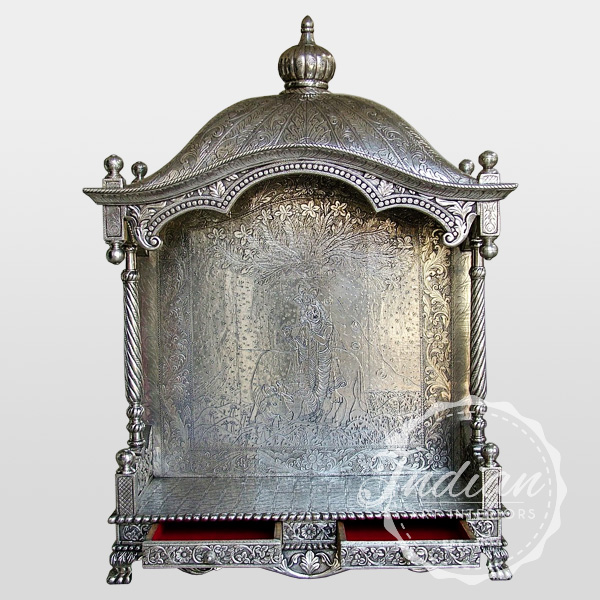 carved embossed silver indian temple
