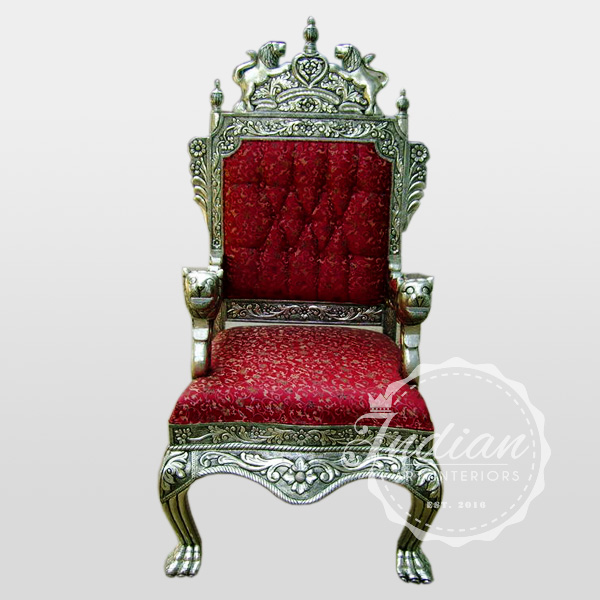 carved german silver throne
