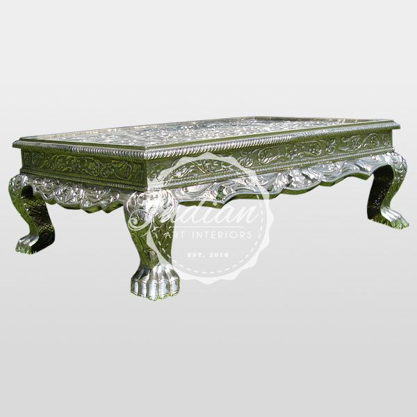 carved german silver coffee table