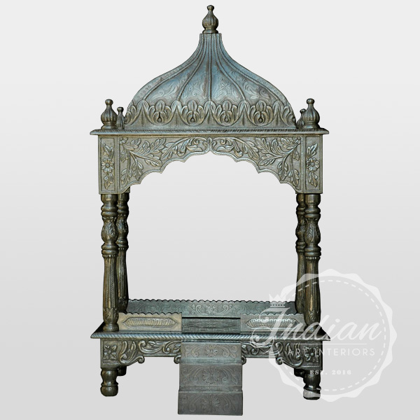 carved white metal handicraft temple