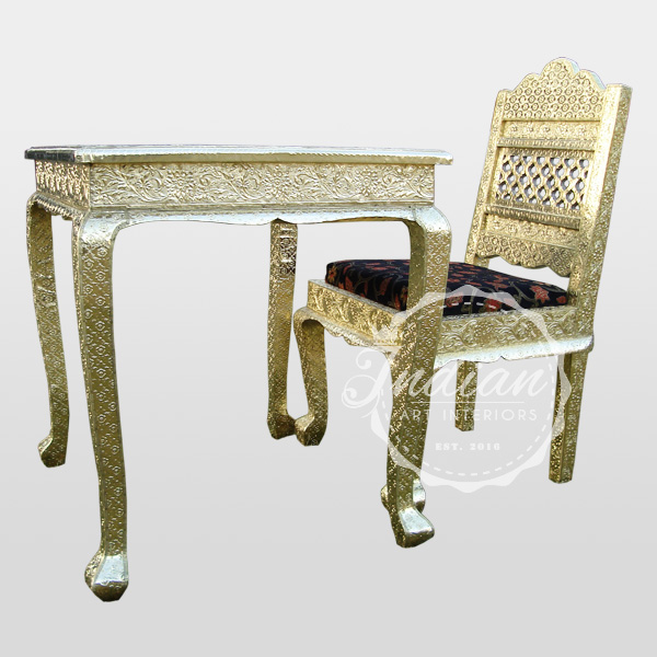 embossed brass dining table