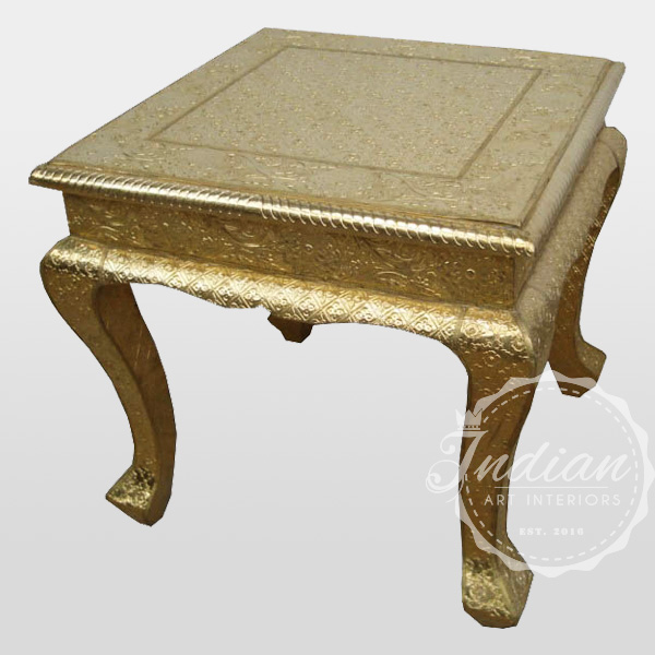 embossed brass end table