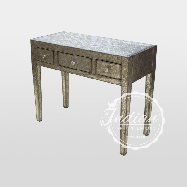 embossed white metal console table