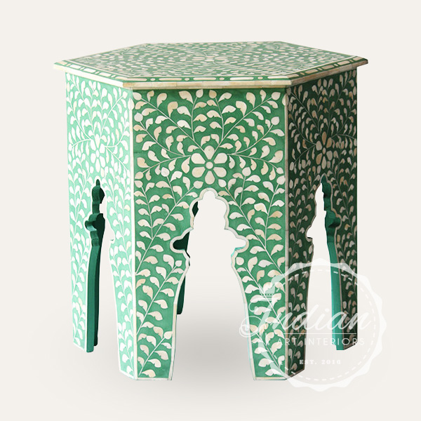 floral bone inlay side table