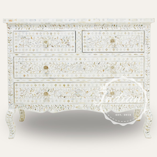 mop inlay floral chest of drawer