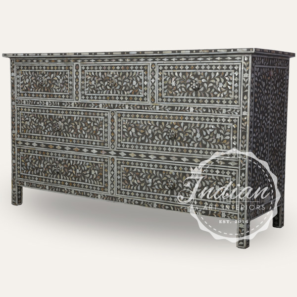 mother of pearl inlay chest of drawer