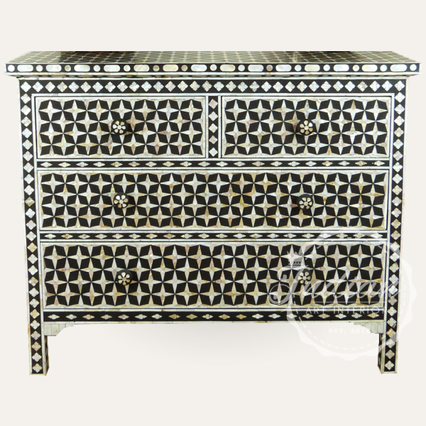 mother of pearl inlay chest of drawers