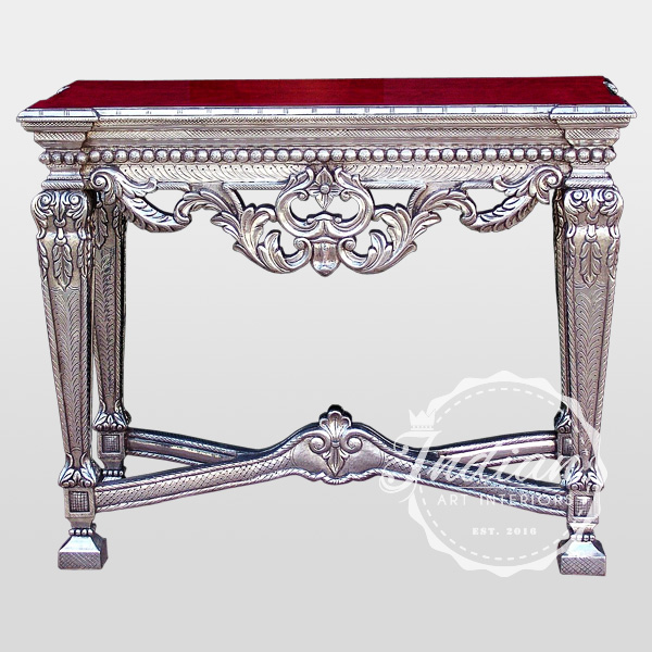 silver carved antique console table