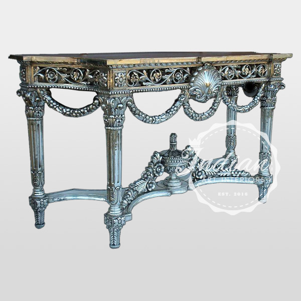 silver carved handicraft console table