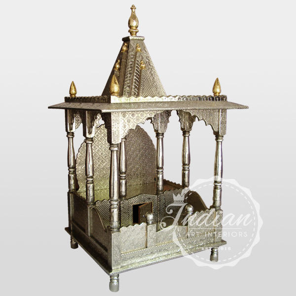 white metal brass embossed temple