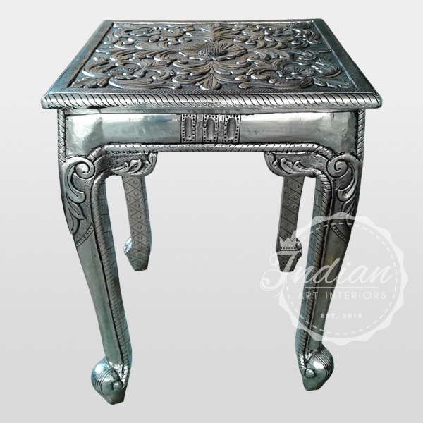 white metal carved antique stool