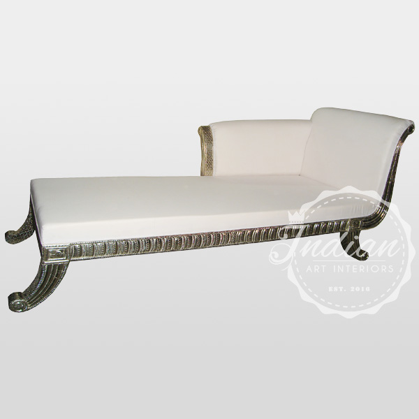 white metal carved daybed