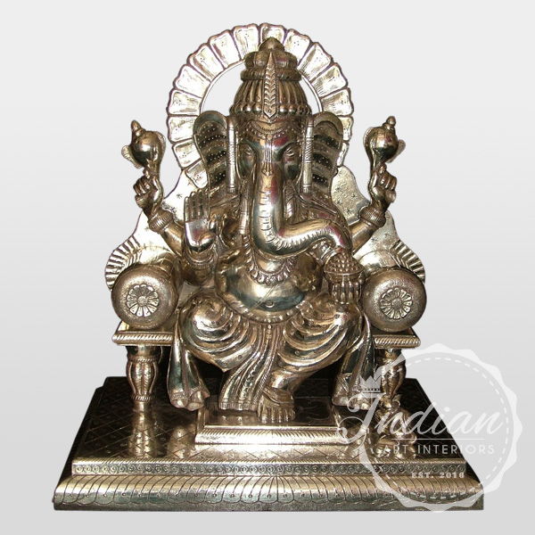 white metal carved indian ganesha statue