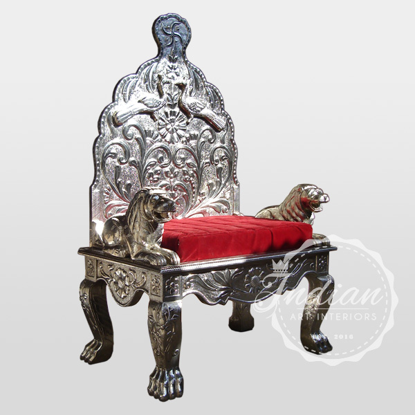white metal indian throne