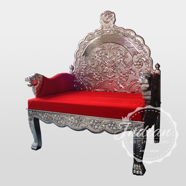 white metal handicraft throne