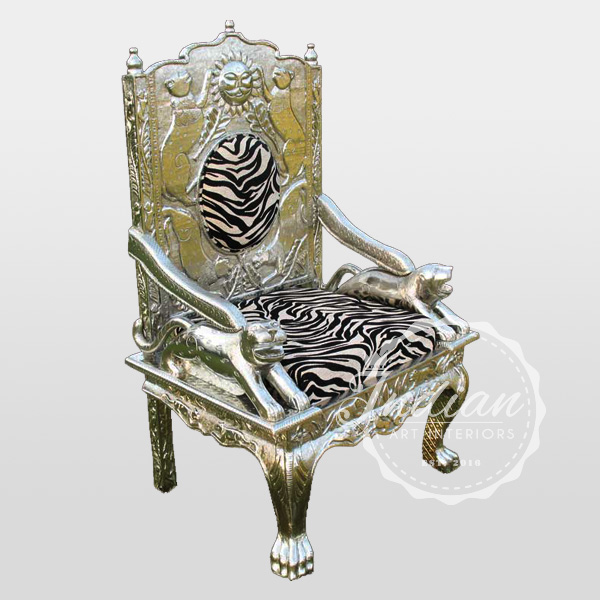 white metal carved throne