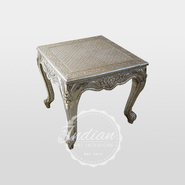 white metal embossed end table