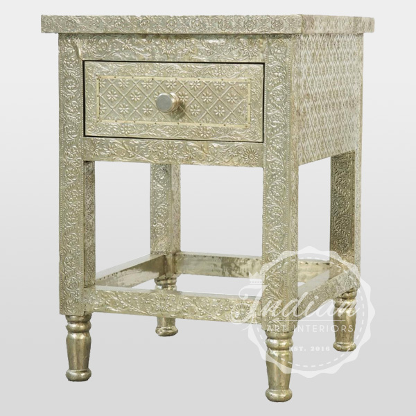 hand crafted indian bedside