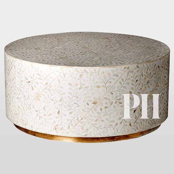bone inlay coffee table brass