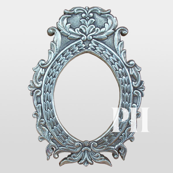 white metal carved wall mirror frame