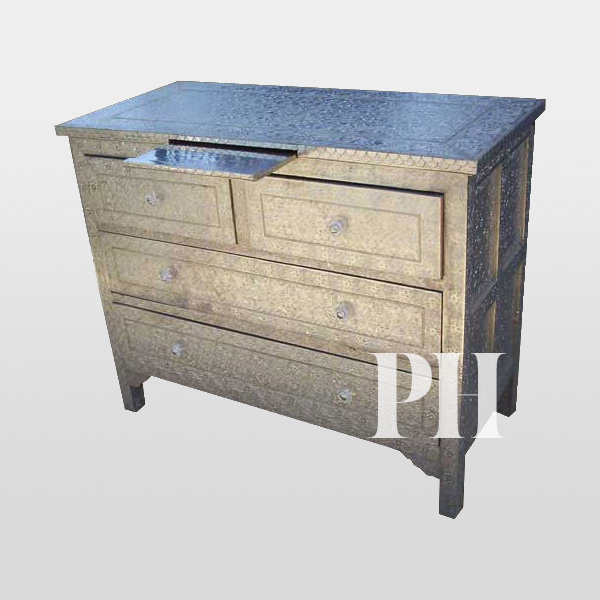 white metal embossed handcrafted drawer